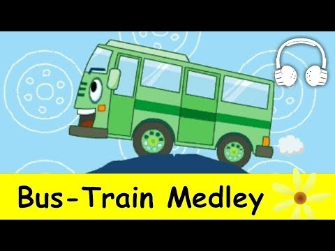 Muffin Songs - Bus Train Medley |  Nursery Rhymes Collection | Wheels on the Bus