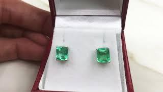Emerald cut Solitaire Emerald stud earrings 14k gold
