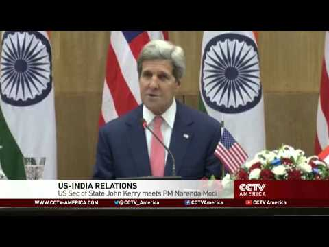U.S. Secretary of State John Kerry meets PM Narenda Modi