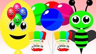 Learn Colors Compilation I Kinder Surprise Cake Pops Bees Balloons Lollipops