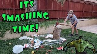 KID DESTROYING STUFF WITH AXE AND SLEDGEHAMMER!
