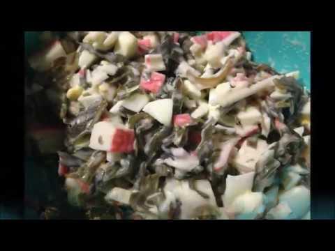 Рецепт  салат из морской капусты с крабовыми палочками и яицом