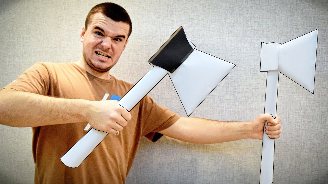 Как сделать топор своими руками из картона