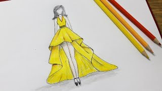 How to draw a dress design - Dresses Drawing step by step