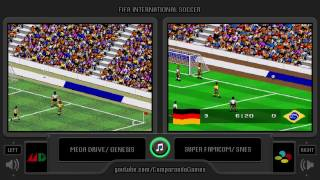 FIFA International Soccer (Sega Genesis vs Snes) Side by Side Comparison