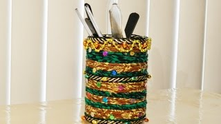 Pen stand making with waste material - handicrafts Making at home