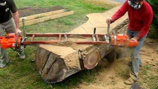 Slabcutting tree trunk for handcrafted furniture