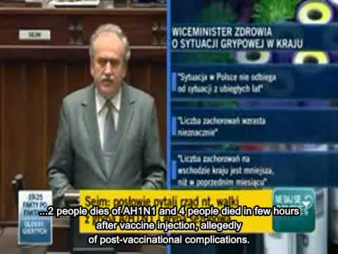 Polish Vice Health Minister in Parlliament on swine flu (AH1N1) vaccine deaths and issues. Nov 2009