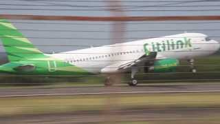 Citilink Garuda Indonesia PK-GLA takeoff from Syamsudin Noor Airport in Banjarmasin