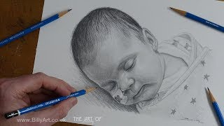 Drawing a baby portrait of Penelope Salt-Mountain July 2019 by Billy time-lapse