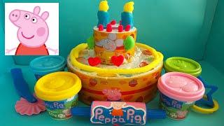 PEPPA PIG VERJAARDAGSTAART SPEELSET VAN KLEI ~ PEPPA PIG BIRTHDAY PLAY SET PLAY DOH