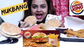 BURGER KING INDIA MUKBANG | CHICKEN WHOPPER,CHILLI CHEESE BURGER,CHICKEN FRIES|*Eating Sounds