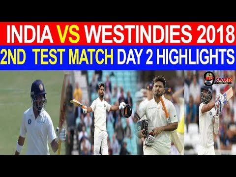 India Vs West Indies 2018|2nd Test Match| Hyderabad| Day 2|Highlights|Prithvi Shaw| Rishabh Pant