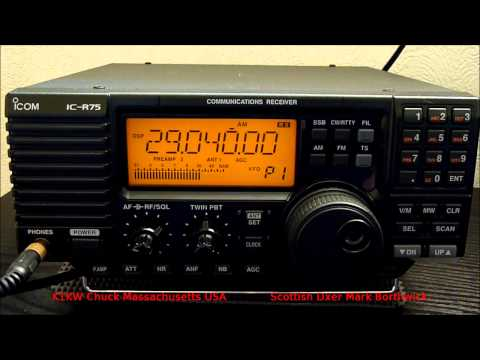 Ham Radio DX 10m Band K1KW in AM Mode Received In Scotland With Icom R75 and KAZ Antenna
