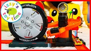 Cars for Kids! Hot Wheels SUPER SPIN TIRE SHOP! Fun Toy Cars for Kids