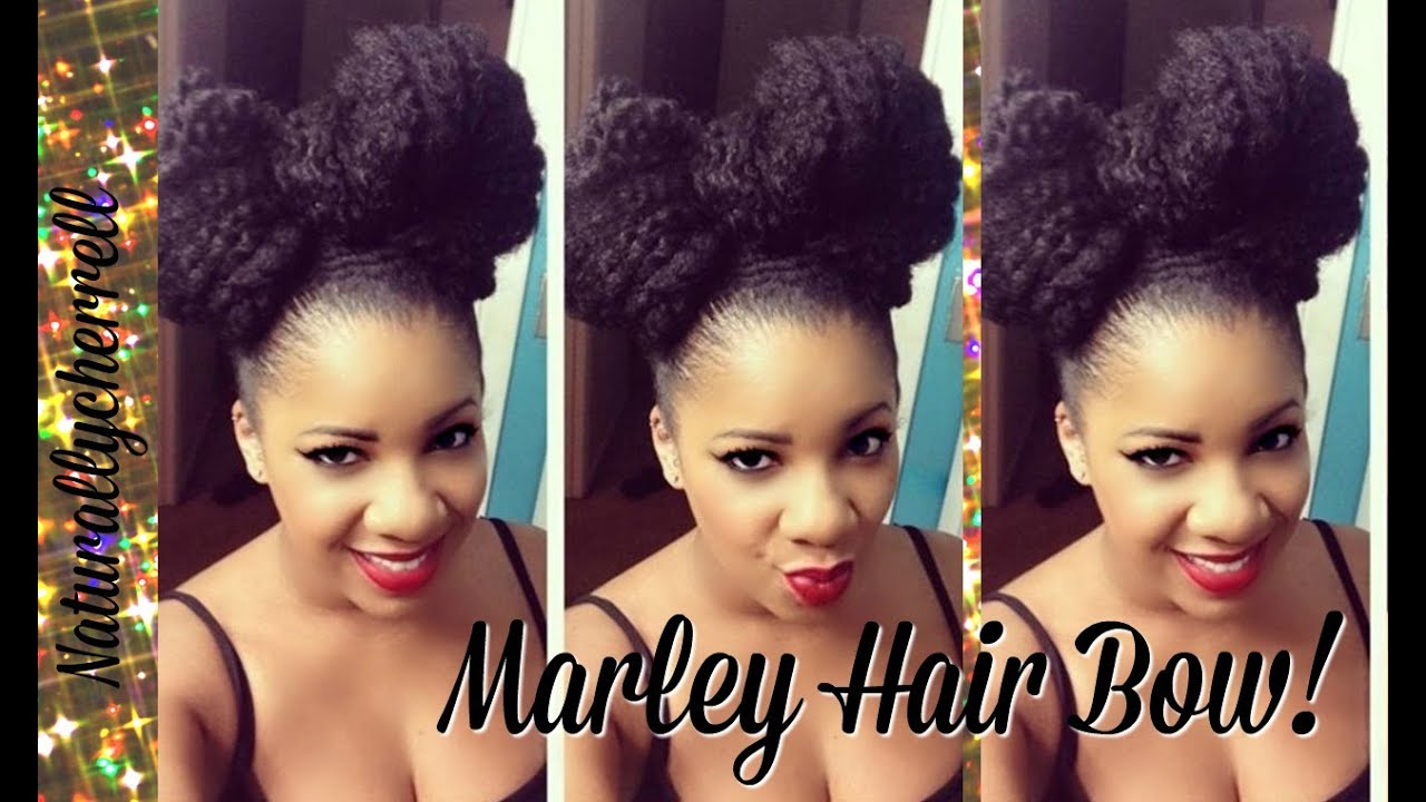 Hairstyles Using Braids : Tutorial: Bow Hairstyle Using Marley Braiding Hair - YouTube