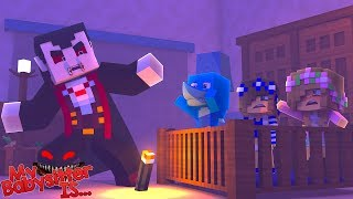 MY BABYSITTER IS...... DRACULA !!! Minecraft w/ Little Kelly Little Carly and Sharky