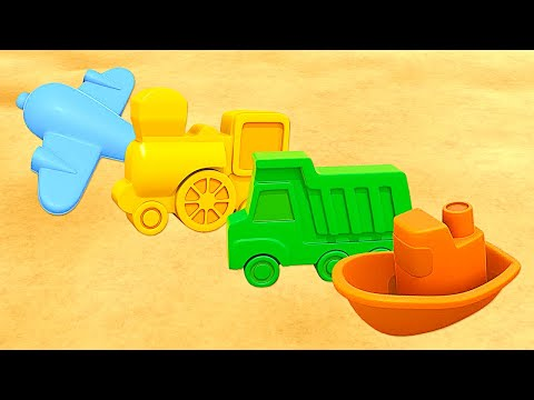 Kids vehicles with sand pit toys. Cartoons.