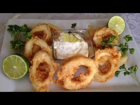 Aros de calamar tempura  receta