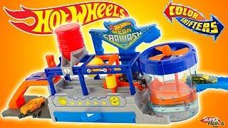 Hot Wheels Station de Lavage Mega Car Wash Color Shifters Jouet Toys Mattel