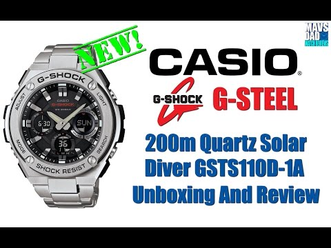 Finally!   Casio G-Shock G-Steel 200m Quartz Solar Diver GSTS110D-1A Unboxing And Review