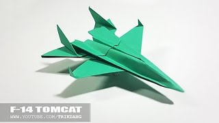 BEST ORIGAMI PAPER JET - How to make a paper airplane model for Kids | F-14 Tomcat