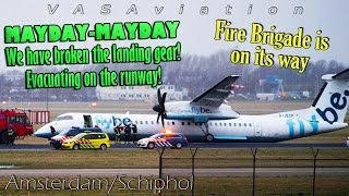 [REAL ATC] Flybe Dash-8 GEAR COLLAPSES landing at Amsterdam/Schiphol