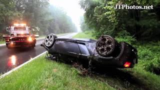 ලැම්බෝගිනියක් හැප්පිලා කුඩුපට්ටම් වෙලා...!! Lamborghini Gallardo Spyder flips over and wrecks