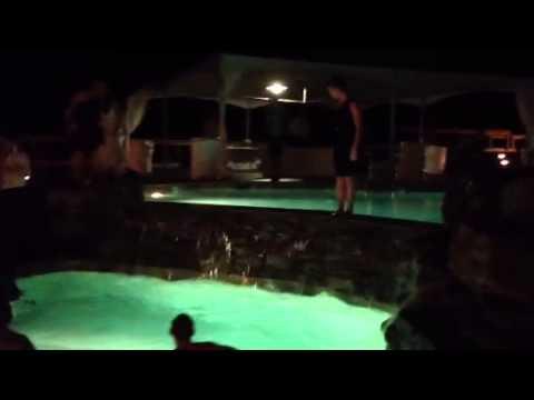 Bride does backflip into pool