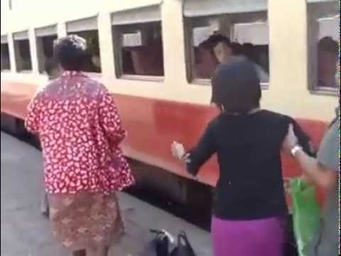 This is how to get on a train in Burma..