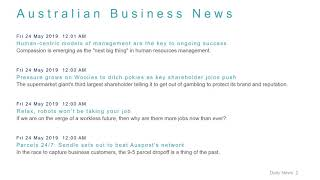 Business News Headlines for 24 May 2019 - 8 AM Edition