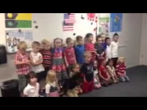Valor Hall Academy kids singing for Red, White & Blue Day