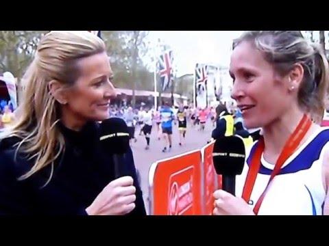 Sophie Raworth Talks To Gabby Logan At The Virgin Money London Marathon 24 Apr 2016.