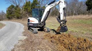 "Bobcat Excavator digging with new 12"" bucket Illinois hunting land"