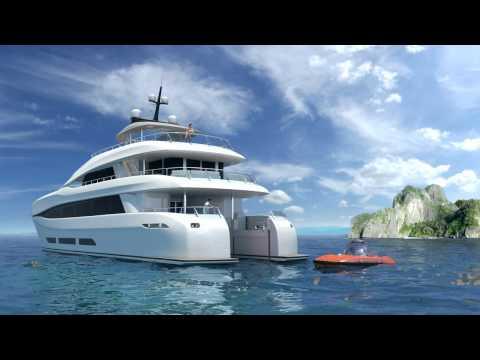 Mini submarine lauched from Curvelle quaranta catamaran motor yacht