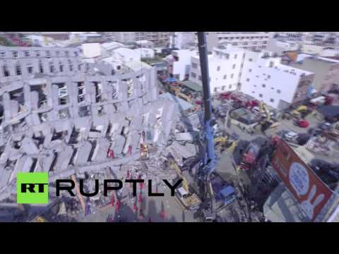 Search and rescue op in Tainan, Taiwan after deadly quake (drone footage)