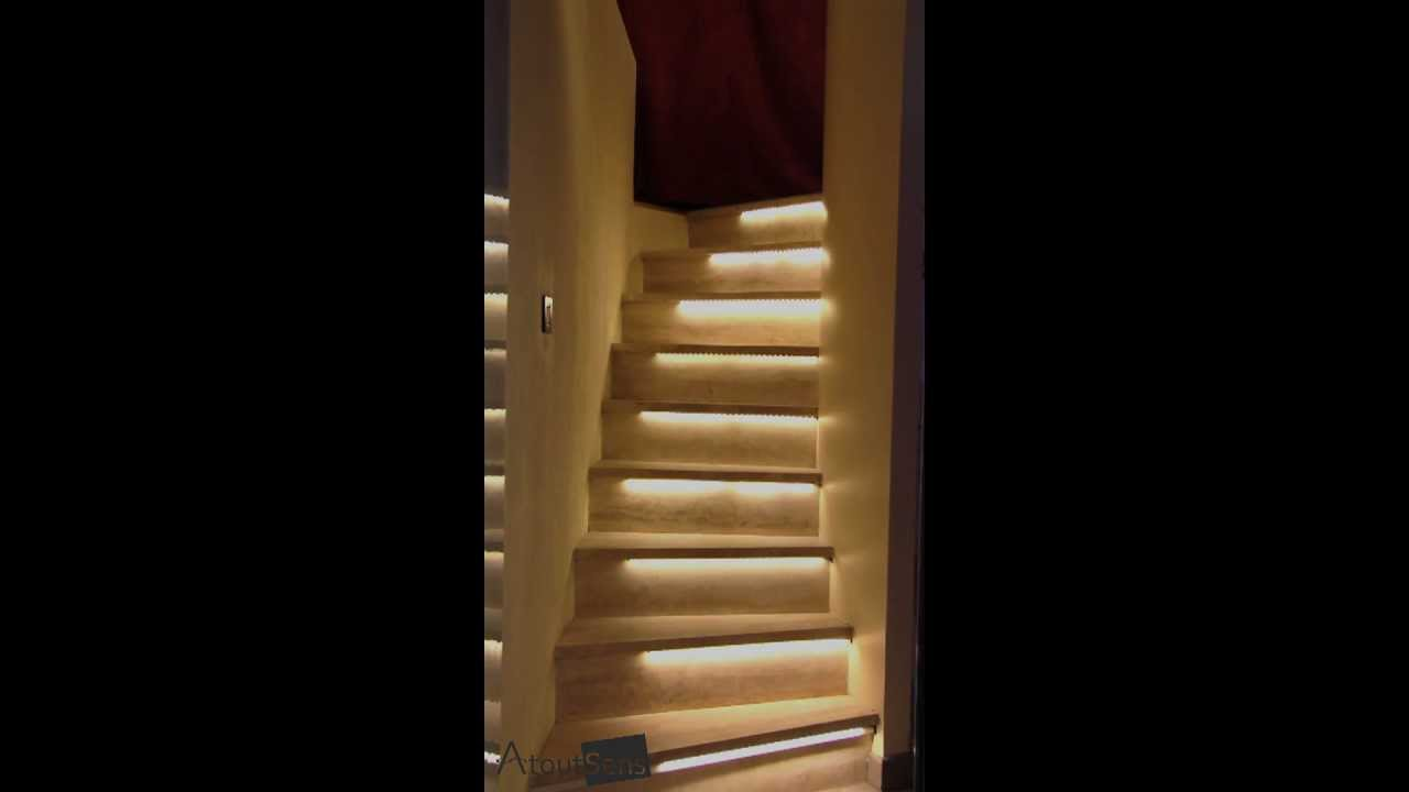 escalier lumineux led interactif par atoutsens youtube. Black Bedroom Furniture Sets. Home Design Ideas