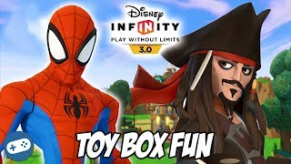 Spiderman and Captain Jack Sparrow Disney Infinity 3.0 Toy Box Fun Gameplay