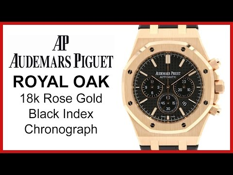 ▶ Audemars Piguet Royal Oak Chronograph. Black Index. UNBOXING & REVIEW - Rose Gold. Leather
