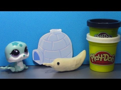 Littlest Pet Shop Walkables Seal LPS Walkables and Play-Doh Narwhal