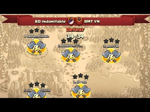 War Defeat  BD Indomitable But Fought well! We Showed Some Of Our Attacks   Clash Of Clans War