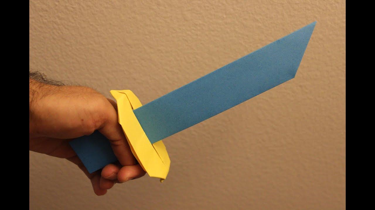 Как сделать меч из бумаги - оригами схема 86