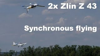 Synchronous flying 2x Zlin Z 43, scale RC airplanes, 2017