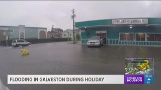 Heavy rains bring street flooding to Galveston's The Strand, coastal counties on Labor Day
