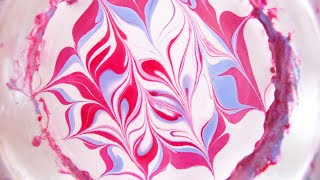 Pink, red, and blue water marble swirl for Valentine