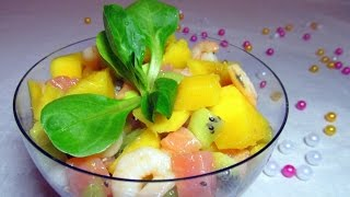 Салат семга креветки Жаркие тропики