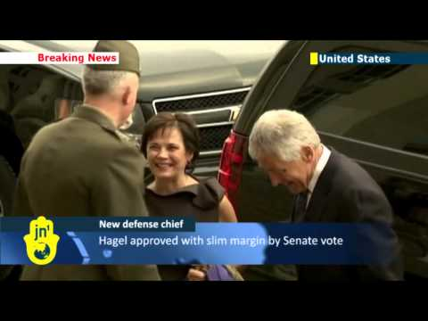 Defense Chief Starts Job: Chuck Hagel arrives at the Pentagon for swearing in on first day