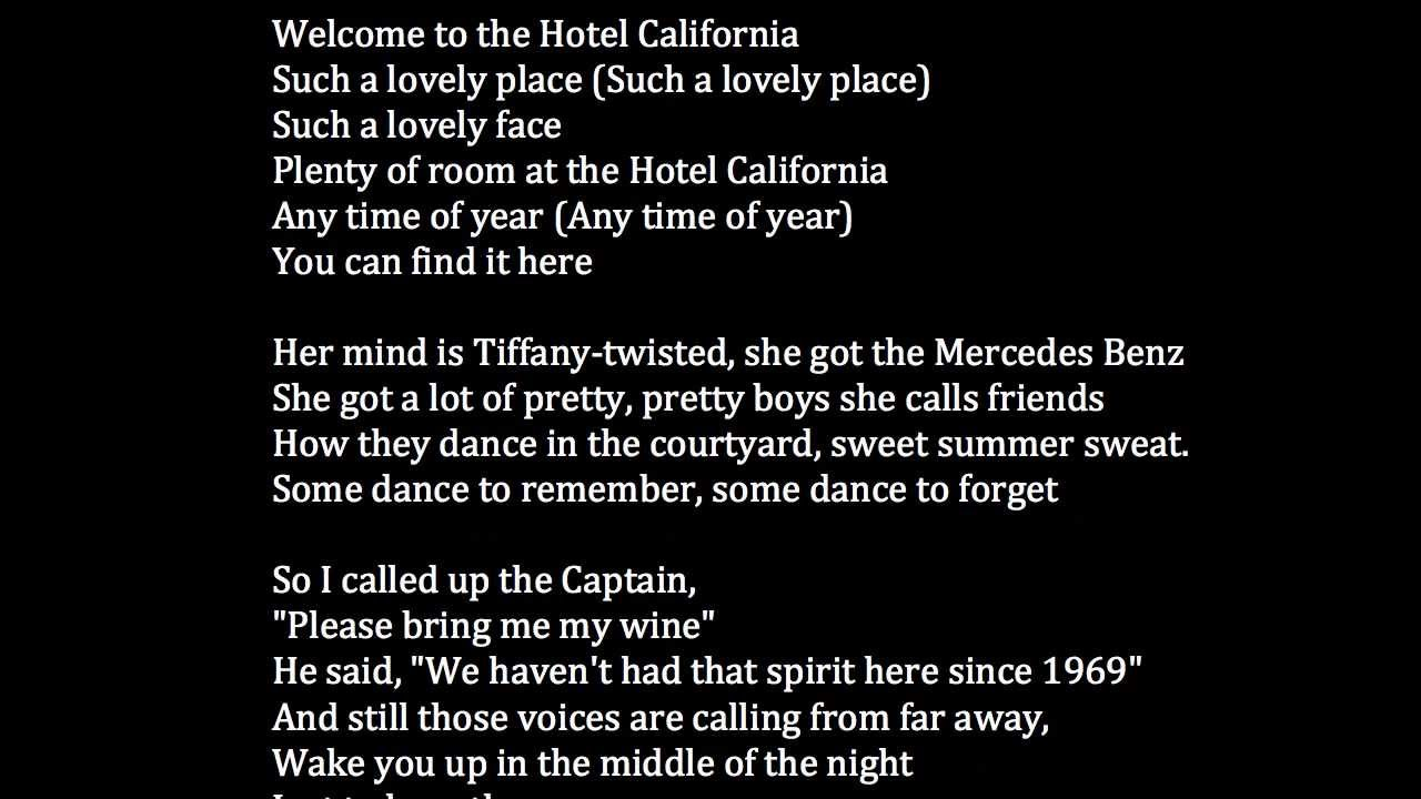 hotel californi lyrics: