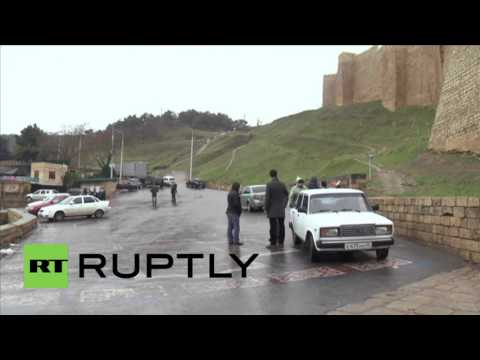 Russia: Locals survey the aftermath of attack on Dagestan's Naryn-Kala fortress