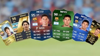 Lionel Messi Ultimate Team Cards from FIFA 10 to FIFA 15